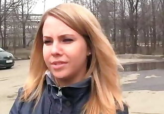Russian Picked up Cutie Fucked by two Guys