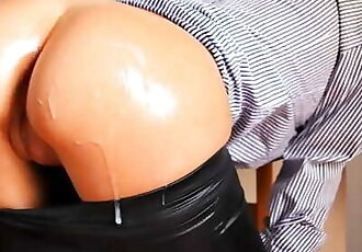 Petite Teen in Black Leather Leggings Gets Oiled up and Doggy Fucked