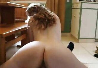 Hot Fuck on Kitchen Floor Creampie Cum