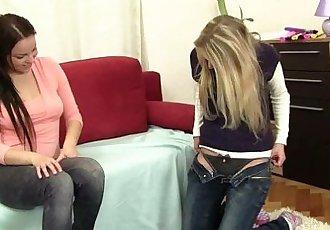 Chesty lesbian teens Lara and Mia fingering twatsHD