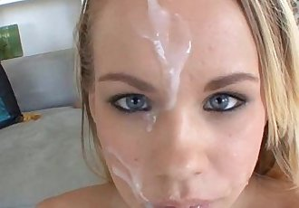 Blonde Britney Young taking sticky facial cumshot
