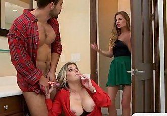 Cory Chase and Sydney Cole amazing orgy on the couch