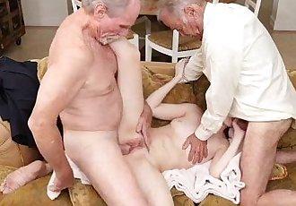 Gorgeous brunette Alex Harper fucks two aged cocks