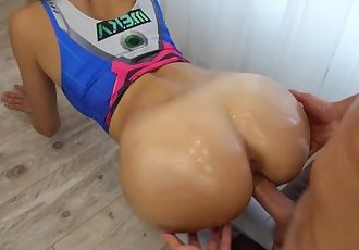 D.Va Overwatch blow job, fuck and grinding in yoga pants, huge load on ass