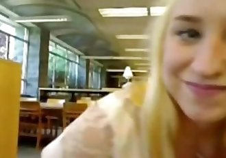 Hot teen mastrubates on webcam in library