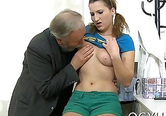 Youthful babe licked by an old boy