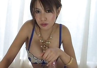 Asian milfy glam babe sucking on the huge dick - 7 min