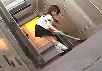 Morimoto Miku in school uniform sucks and licks three penises - 10 min