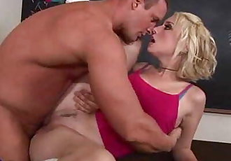 pierced blondie screwed hard by her prof - 5 min