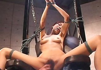 Bdsm treated Asian with sexy lingerie sucking and titty fucking - 8 min