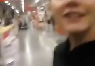 Horny teen gilrfriend sucking in a public store 2 min