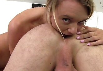 Molly licks stepdads ass and rides his cockHD