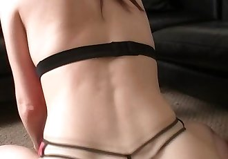 beautiful girl with a bubble butt shaking in a thong