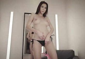 Hottie Czech Paula Shy fingers her pussy hard wearing micro bikini