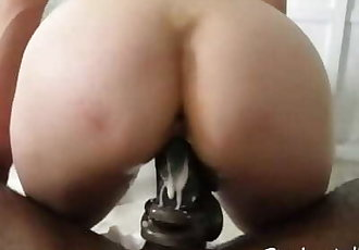White Teen Squirts Cums on BBC Jerks Dick with Pussy for Cream Pie Fountain