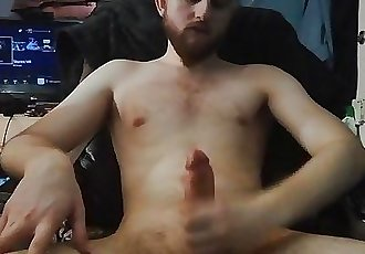 Teen boy dirty talks while stroking his big dick and cums