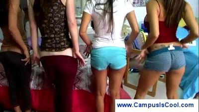 College girls show their swollen pussies
