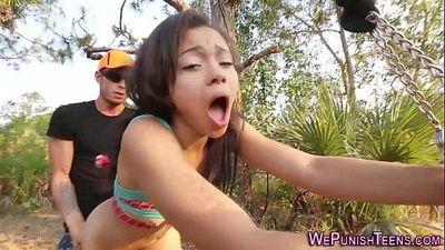 Bdsm ebony bang in forestHD