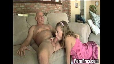 Young, horny and broke slut makes porn with old guy!