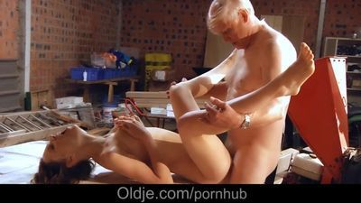 Incredible young girl fucks old man gives him her tight pussy