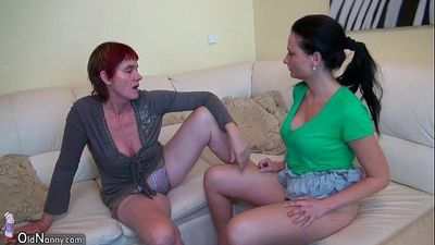Old threesome with toys, young Girl, man and old chubby GrannyHD