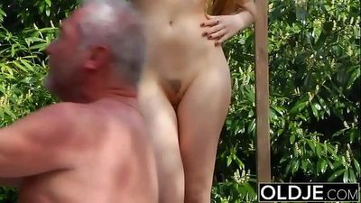 Old Young PornTeen Fitness Yoga Teacher seduces and fucks an old manHD
