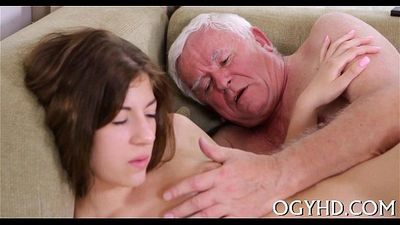 Nasty old stud fucks young face hole