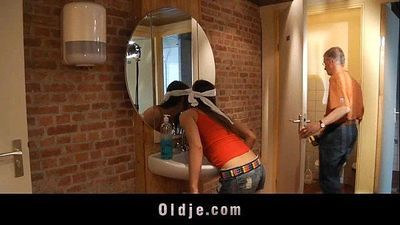 Old man pumps in ass a young slutty cleaning ladyHD