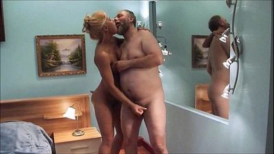 Young girl seducing old guy for blackmailing