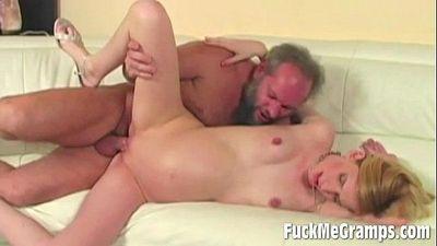 Horny Old Guy fucked girl
