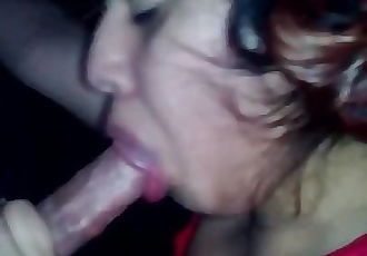 Naughty latina slut sucks and swallows a full load of cum!