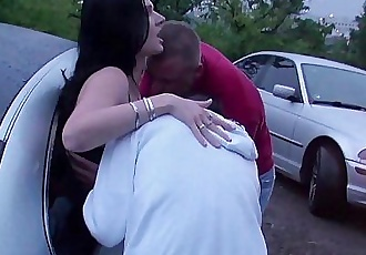 Extreme PUBLIC dogging foursome with a pregnant girlHD+