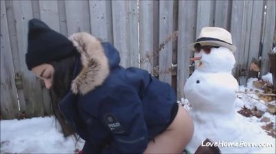 Teen gets fucked by Snowman