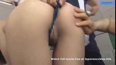 Hot japanese teen in swimsuit being played with sexual toys at the pool