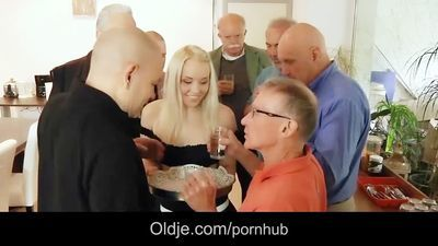 Seven old men gangbang fucking blonde secretary DP and crazy facials