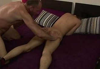 Balding gay dad slams the asshole of a cute boy