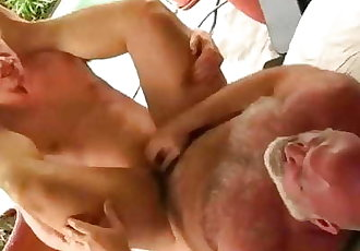 Stepdad and Son by the Pool