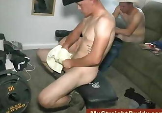 Straight Marine Buddies Jerking & Smoking