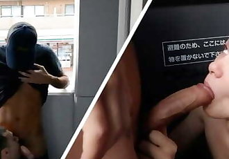 Twink Deepthroats Big Cock on the Balcony - Gay Sex Vlogs 02