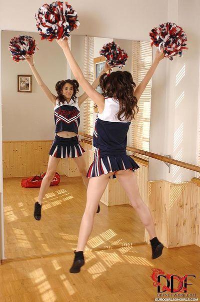 European cheerleaders Amirah & Candy Sweet toying lesbian twats