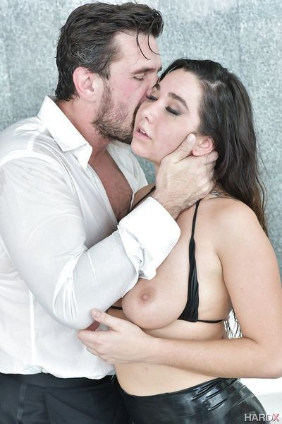 Busty pornstar Karlee Grey finishes off a hard fuck with pleasing titjob