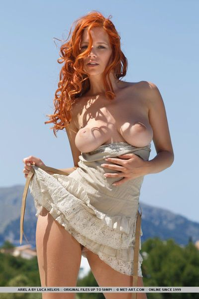 Lusty redhead looker with big naturals Ariel reveals her hairy twat