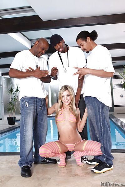 Cute Amy Brooke has interracial groupsex with three chocolate studs