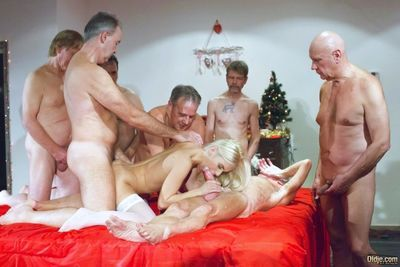 Christmas party turns wild for blonde Nesty once getting old men to fuck her - part 2