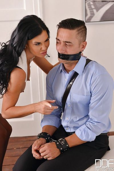 MILF pornstar Jasmine Jae restraining her hubby before fucking another guy