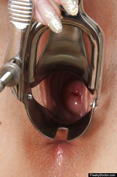 European babe masturbating her tight pussy in gyno doctor cabinet - part 2