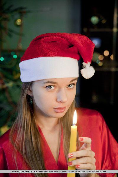 Skinny teen in Christmas lingerie on knees showing bald teen pussy