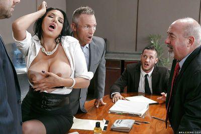 Buxom Latina secretary Missy Martinez giving a tit fucking in office