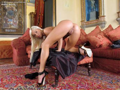 Ravishing blonde hussy Natali Blond rams a toy in her tight vagina
