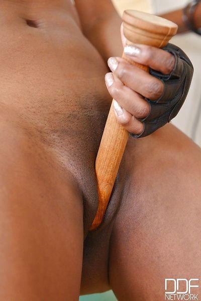 Fit ebony MILF Jasmine Webb inserting wooden dildo in shaved pussy - part 2